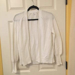 White Knit Gap Cardigan with puff sleeves